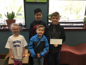 Students, Ginger Griffeth, Alexis Diaz, Joel Lambert and Jake Lambert are winners for doing good! Thank you, Des Plaines Park District for donating free passes to Mt. View Mine mini-golf.